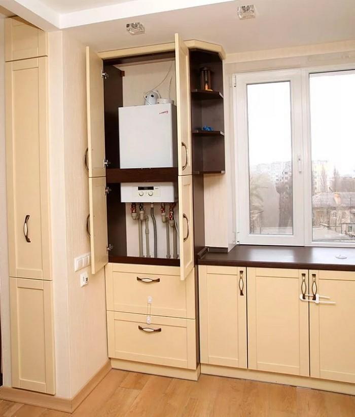 Дизайн кухни с газовым котлом: варианты размещения, фото решений