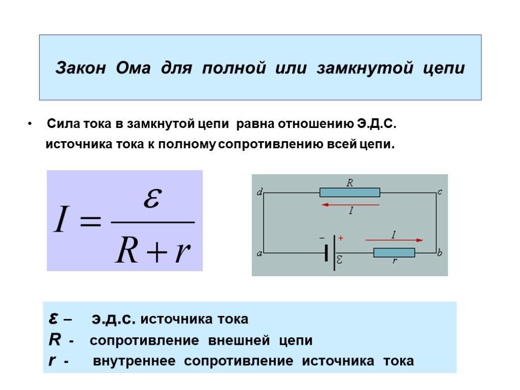 Определение и формула закона ома для участков электрических цепей и постоянного тока