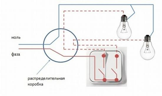 Подключение люстры к двойному выключателю