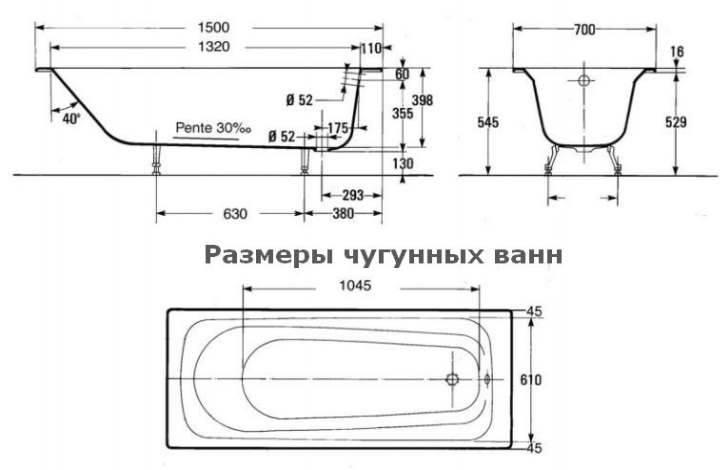 Размеры стальных ванн: какие существуют, маленькие и большие габариты