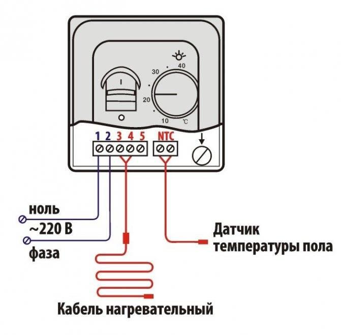 Терморегулятор для водяного теплого пола - схема подключения