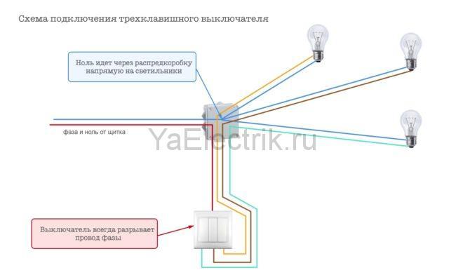 Как правильно подключить трехклавишный выключатель