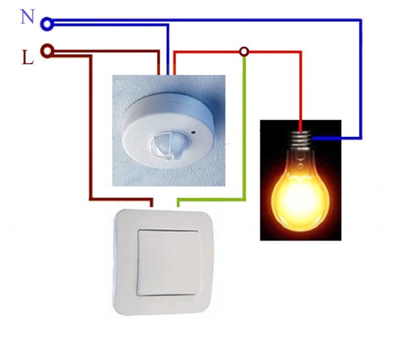 Подключение датчика движения к освещению