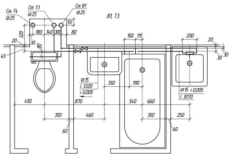 Два способа и пять технологий разводки труб в ванной с фото и видео-инструкциями