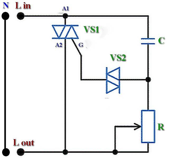 Подключение диммера вместо выключателя — схема монтажа