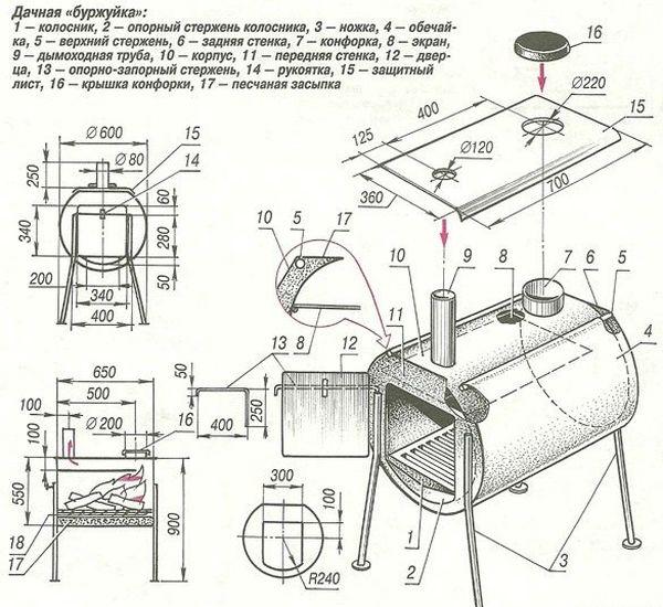 Мангал из газового баллона своими руками: чертежи, фото, видео