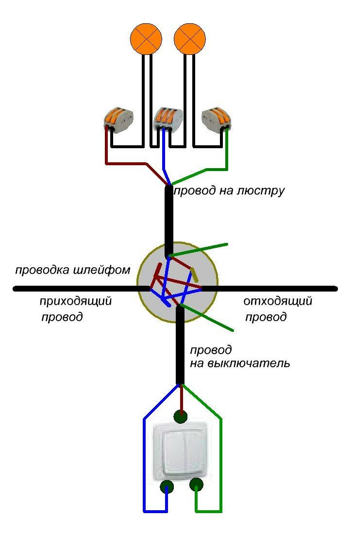 Подключение люстры к двойному выключателю и ее схема при подсоединении совместно с вентилятором