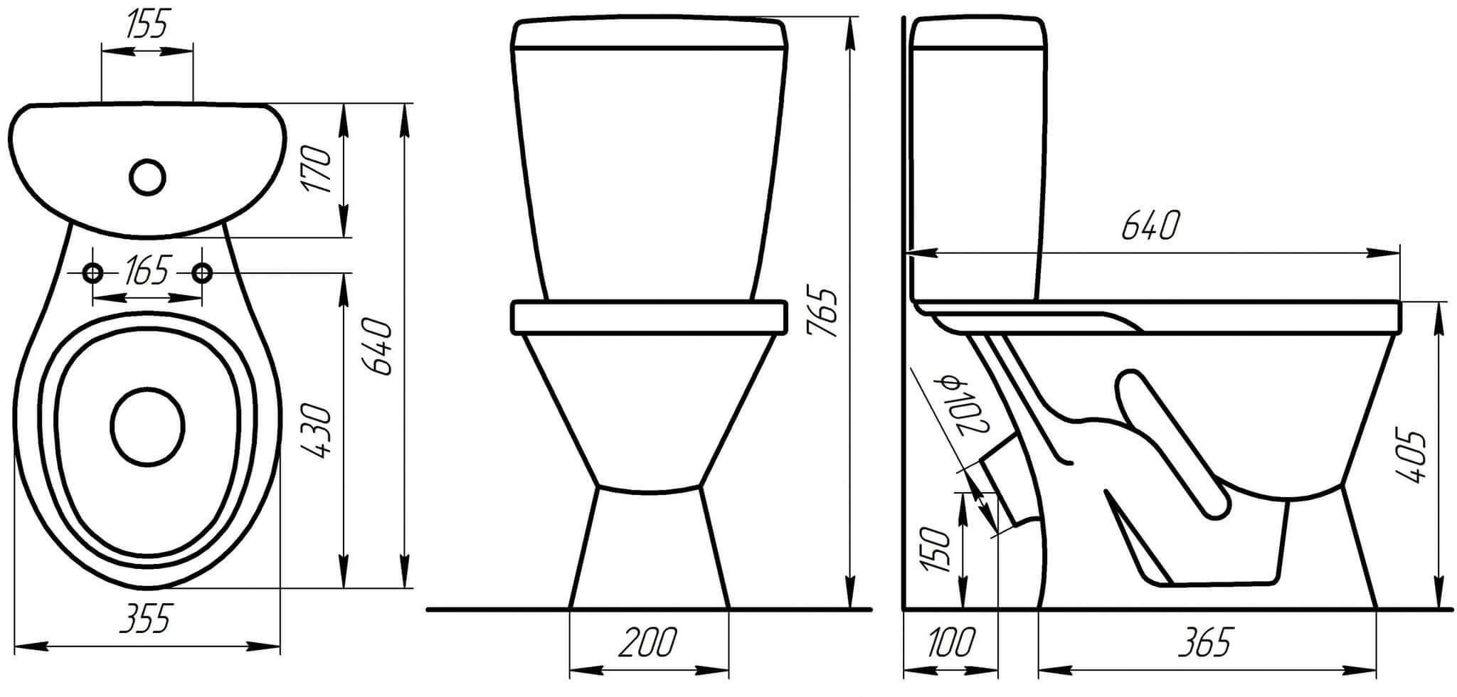 Стандартные размеры унитаза: типичные размеры и вес разных типов унитазов