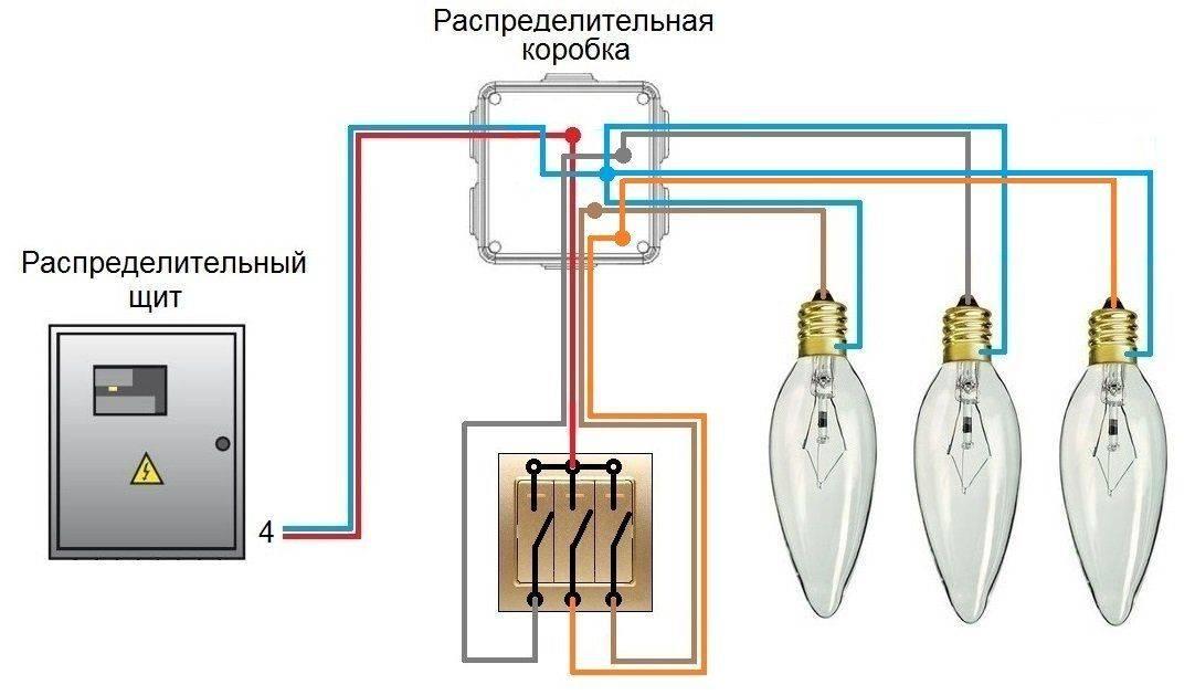 Как подключить трёхклавишный выключатель освещения