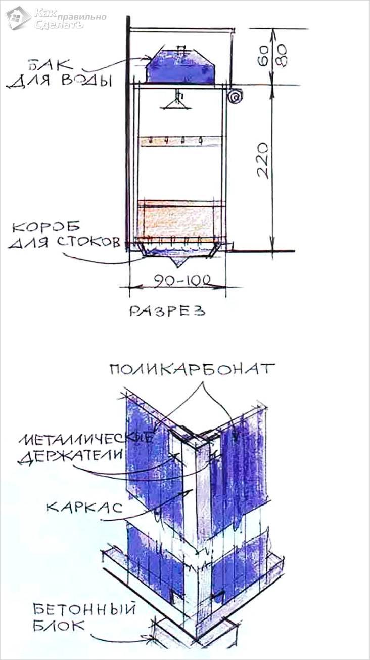 Летний душ для дачи (122 фото): как сделать бак своими руками, дачный вариант, чертежи и размеры, как выбрать емкость