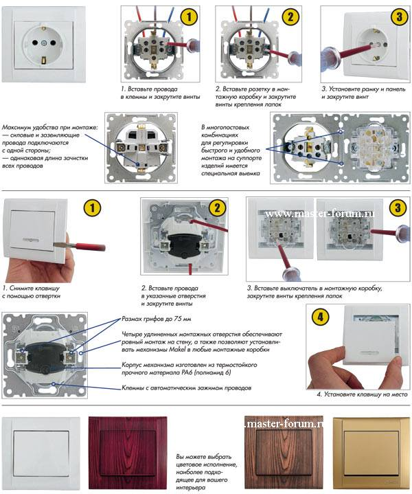 Установка розетки своими руками, схема подключения к электросети, фото
