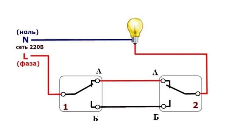 Схема подключения проходного выключателя: расположение приборов, установка своими руками