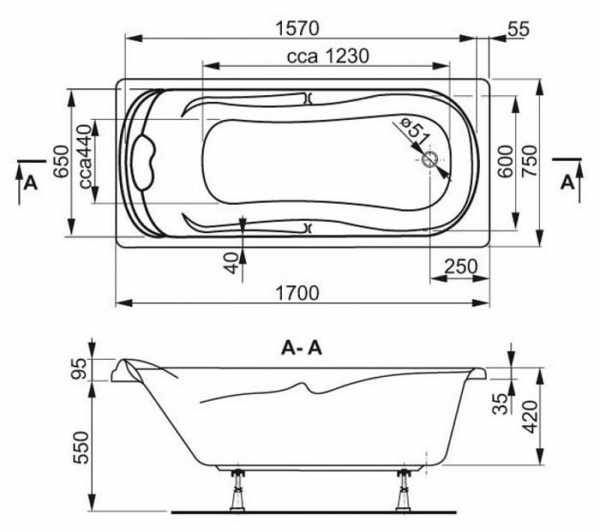Размеры ванны: типовые, стандарты габаритов, угловые ванны, чугунные, акриловые (+ фото)