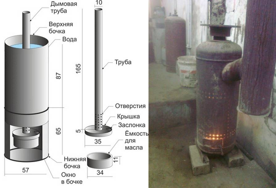 Печка на отработке своими руками: чертежи, видео и фото пошагово