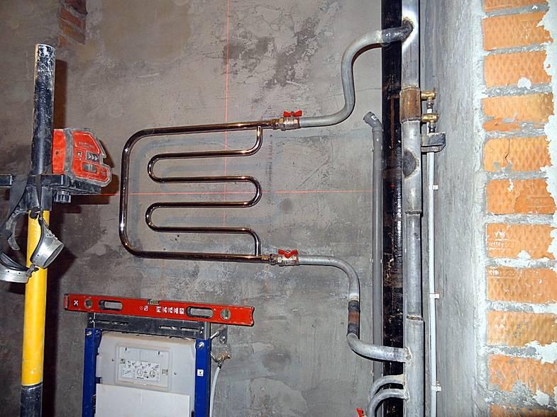 Подключение полотенцесушителя к стояку горячей воды схема