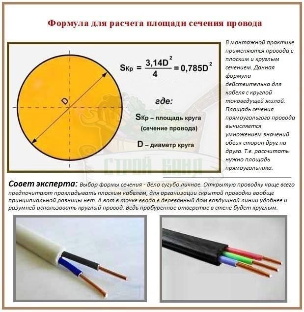 Как правильно провести расчет сечения кабеля по нагрузке