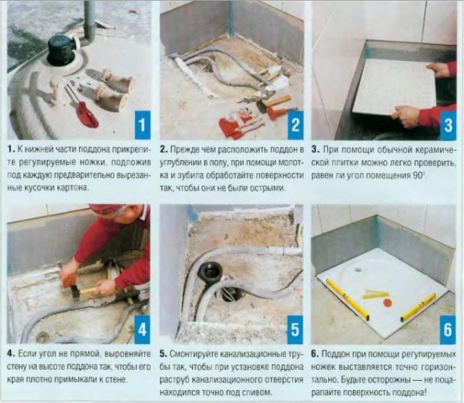 Установка и подключение душевой кабины к системе канализации