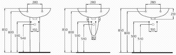 Высота установки раковины в ванной — стандарты и схемы