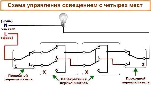 Перекрестный выключатель: назначение и устройство + схема подключения и монтаж