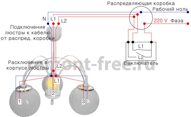 Схема подключения люстры с двойным выключателем – свой дом мечты