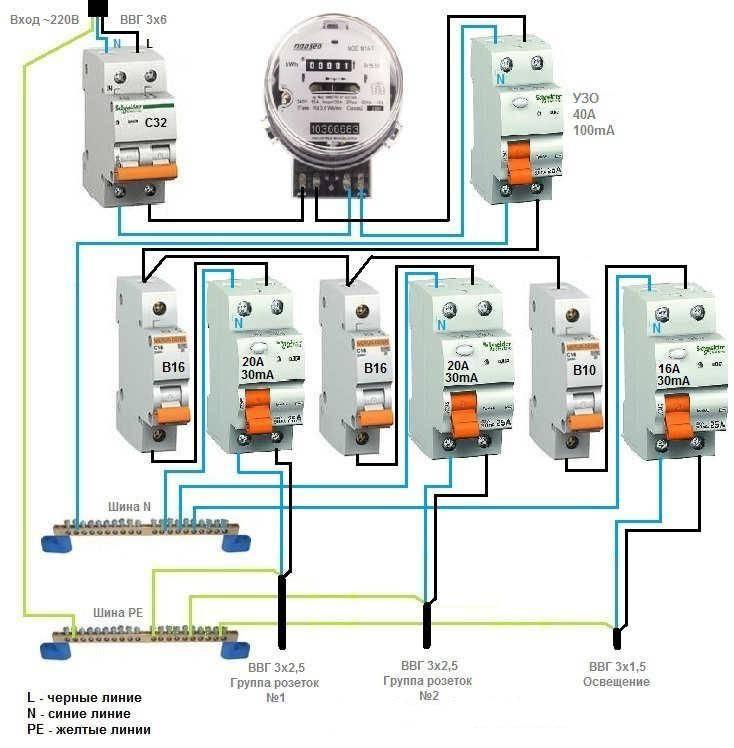 Схема подключения узо в однофазной сети без заземления
