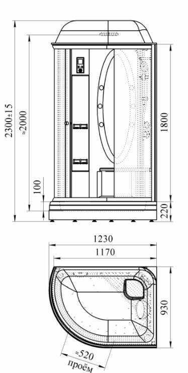 Размеры угловых душевых кабин