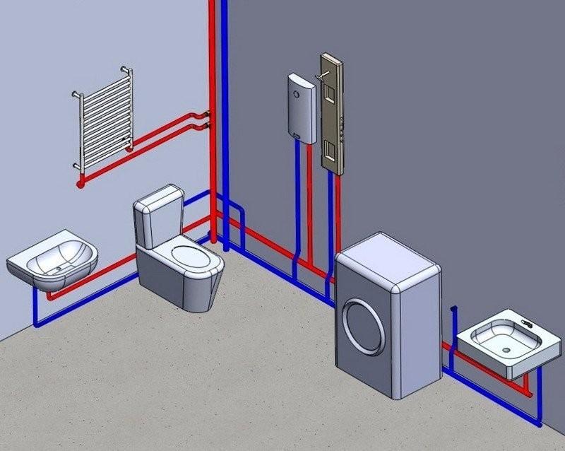 Как сделать разводку труб в ванной и туалете – нюансы монтажа