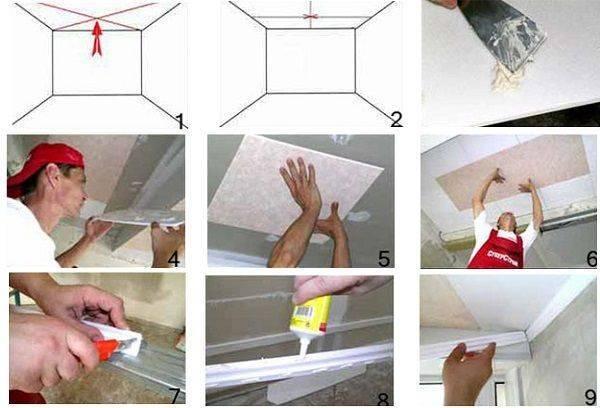 Разновидности, преимущества и недостатки плиток для потолка. как правильно поклеить?