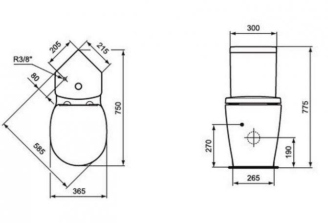 Стандартные размеры унитаза с бачком: габариты