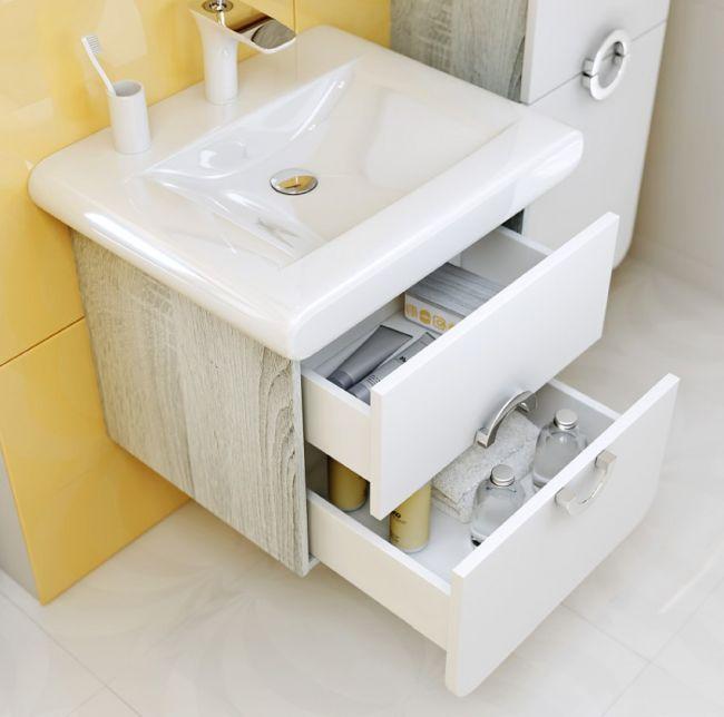 Особенности выбора подвесной тумбы с раковиной в ванную