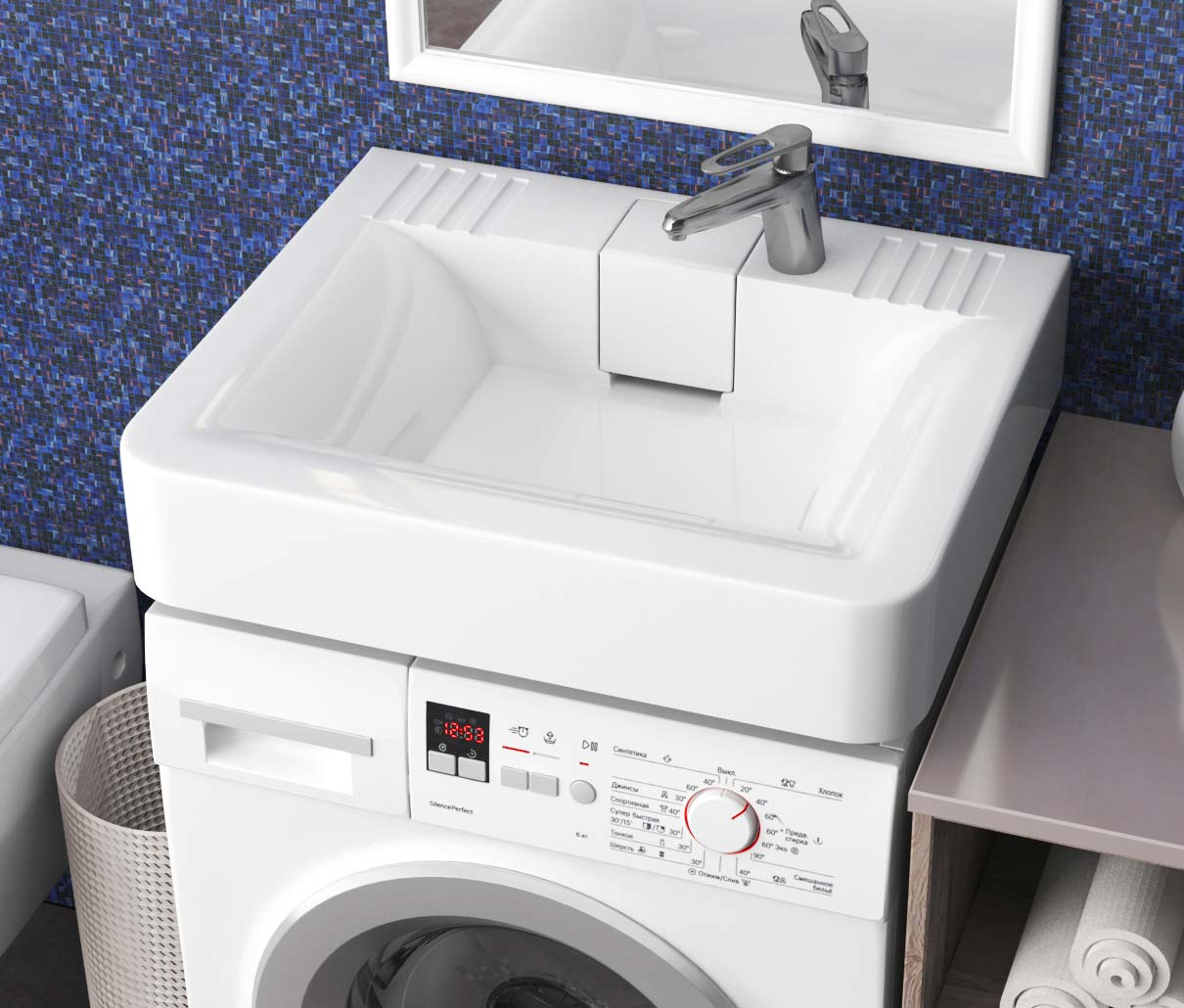 Раковина над стиральной машиной: как выбрать и установить (+ фото)