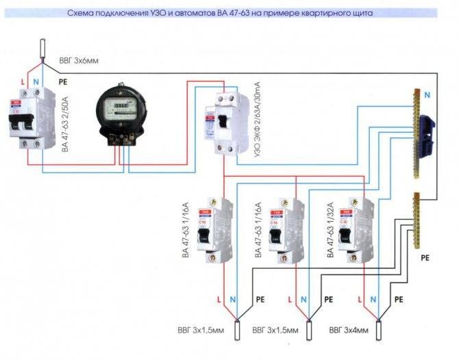 Схема подключения узо — 4 варианта установки