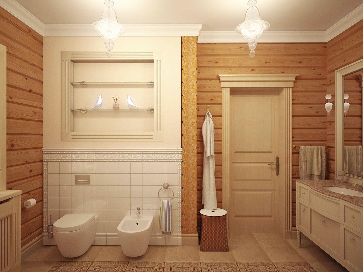 Ванная комната в деревянном доме: пол, стены, потолок