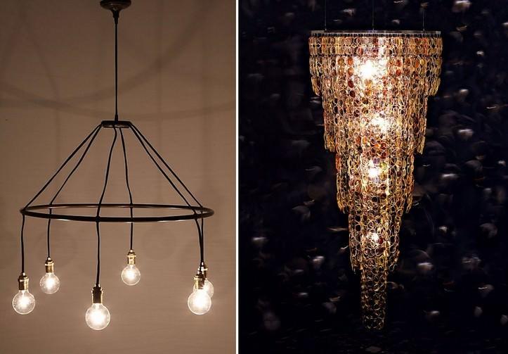 Люстра своими руками из подручных материалов: как сделать красивый потолочный светильник в домашних условиях, оригинальные идеи декора абажура в зал, спальню, гостиную