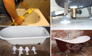 Установка чугунной ванны своими руками: как установить на ножки, на кирпичи (+ видео)