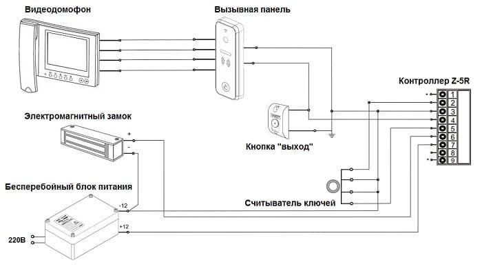 Схема подключения электрозамка к видеодомофону