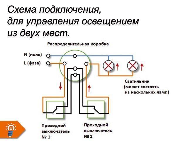 Схема подключения проходного выключателя одноклавишного