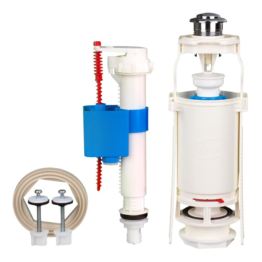 Вид арматуры при боковой подводке воды унитаза: запорная комплектация сливного бачка с впускным клапаном