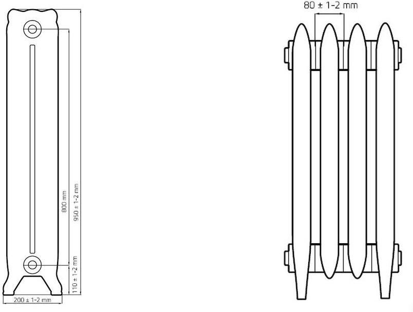 Теплоотдача радиаторов отопления таблица, чугунных батарей, расчет от стояков обогрева