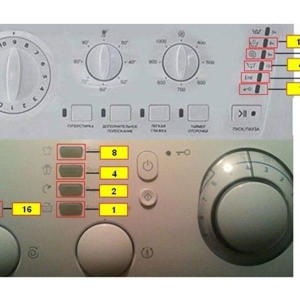 Ошибки стиральных машин индезит без дисплея по миганию индикаторов