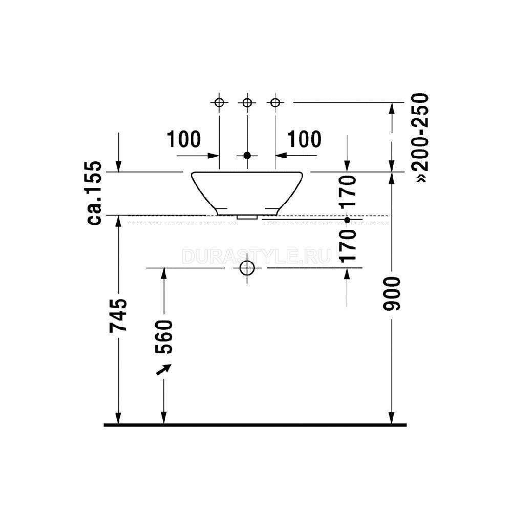 Высота от уровня чистого пола до отверстия вывода отвода общего стояка