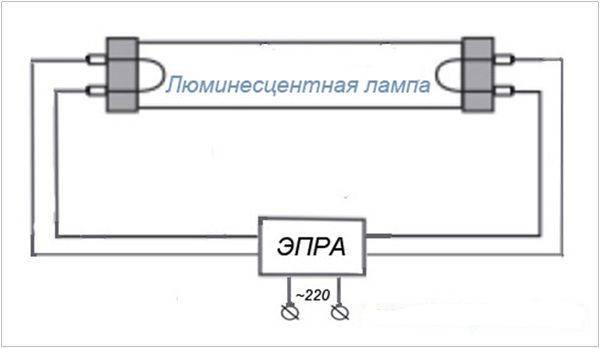 Простая схема подключения люминесцентных ламп