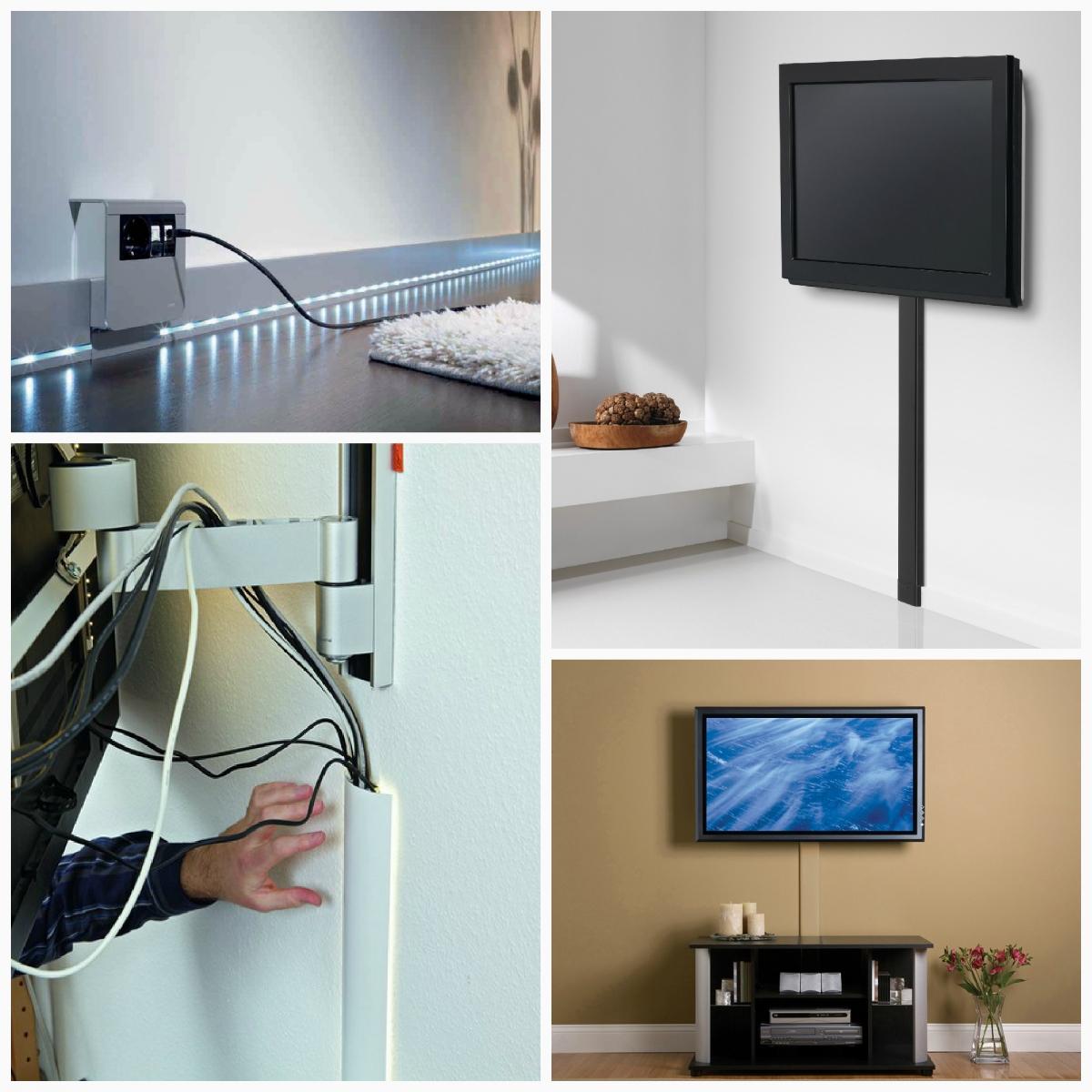 Как спрятать провода от телевизора на стене - 12 отличных идей
