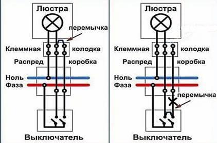Как подключить шестирожковую люстру к двухклавишному выключателю - инженер пто