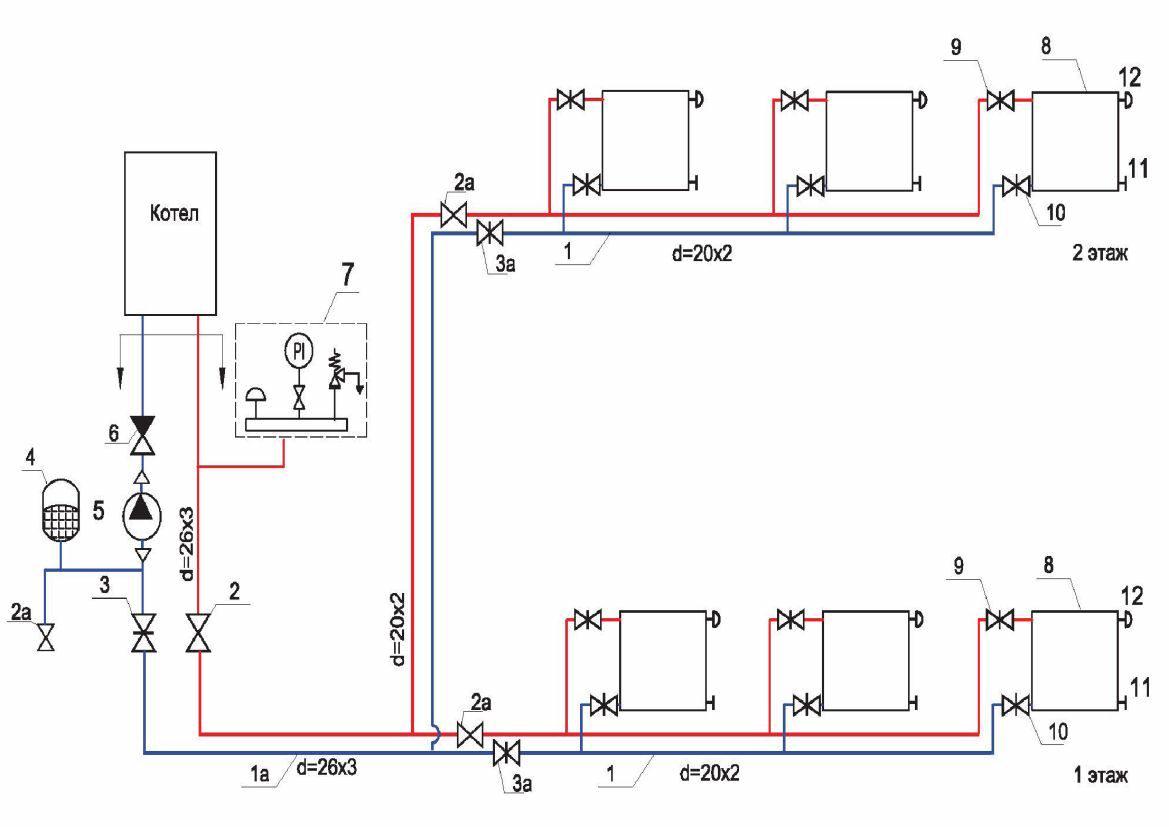 Схема отопления одноэтажного дома: схема системы в одноэтажном частном доме, детали на фото и видео