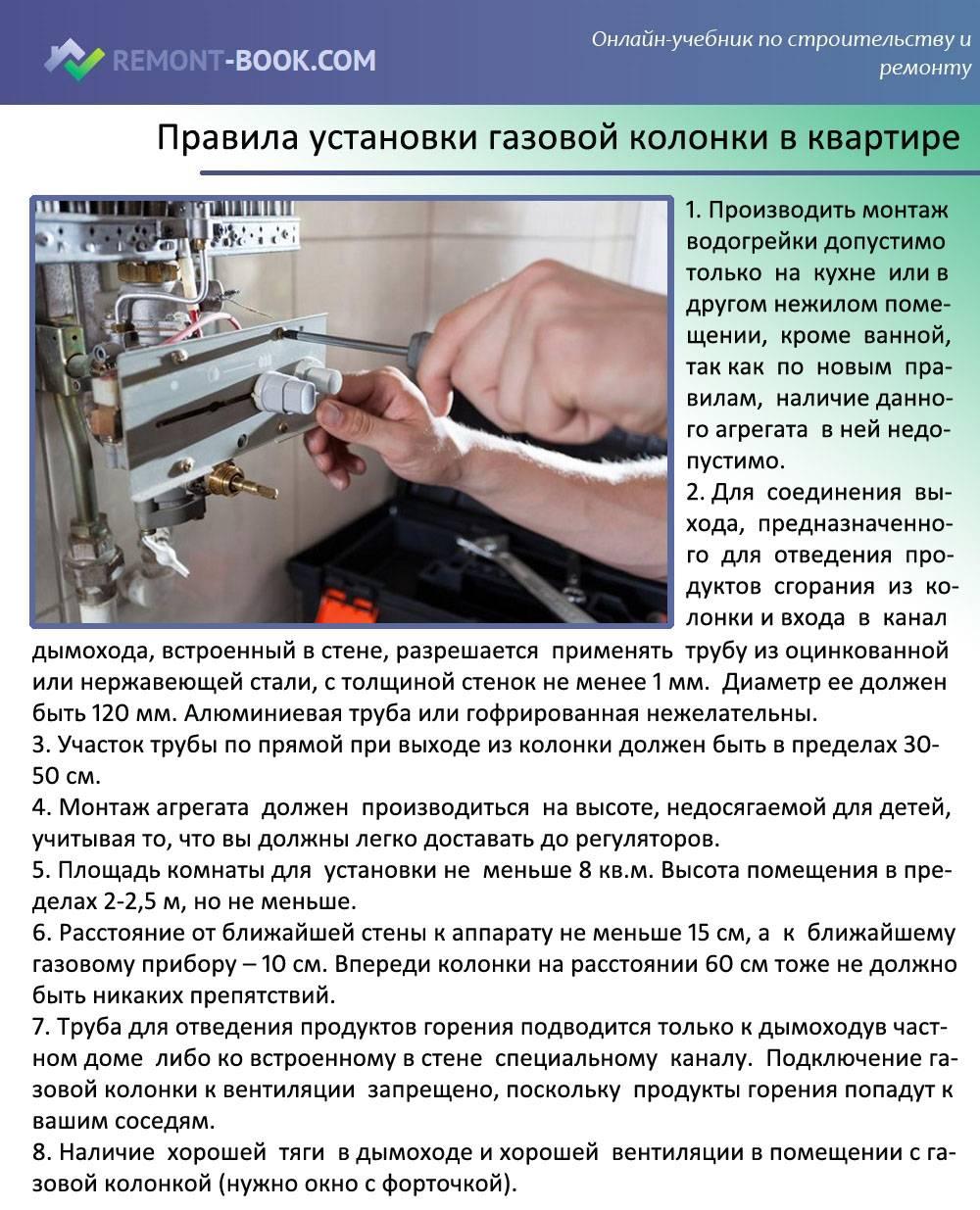 Установка газовой колонки своими руками — нормы и разрешения