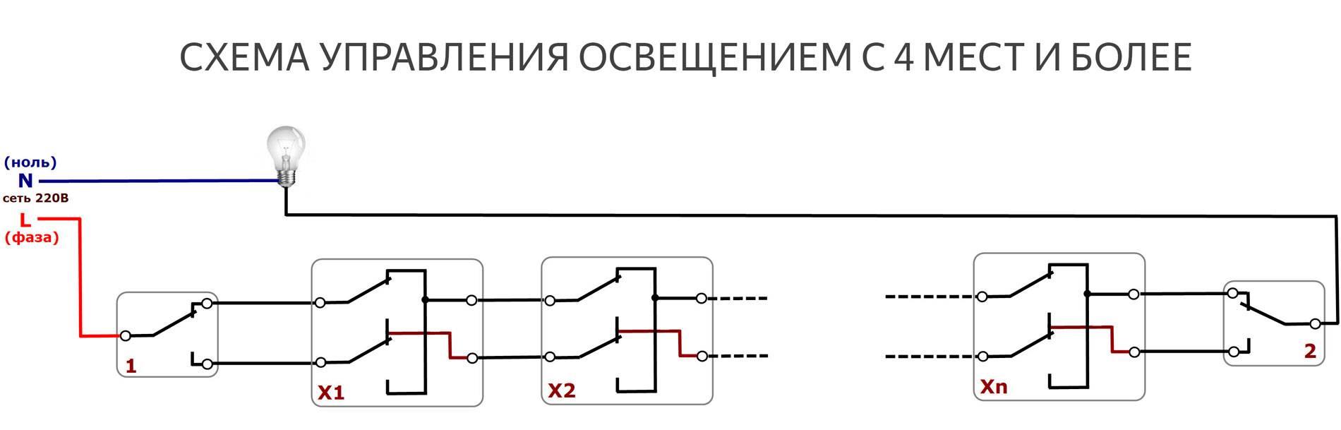 Схема подключения проходного выключателя с 3х мест – подробная инструкция