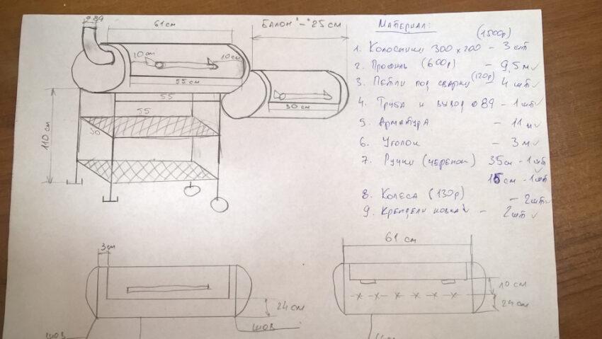 Мангал из газового баллона: сделать по чертежу своими руками и пропанового баллона