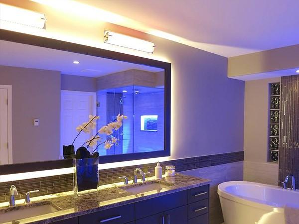 Подсветка в ванной комнате: как сделать светодиодную подсветку своими руками, фотообзор