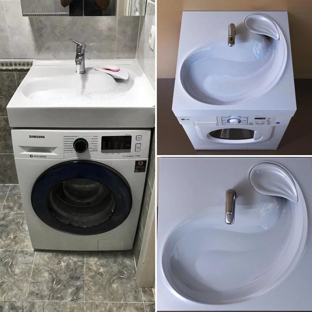 Раковина над стиральной машиной +75 фото, виды и формы